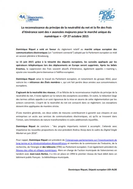 CP 2015-10-27 La reconnaissance du principe de la neutralité du net et la fin des frais_001